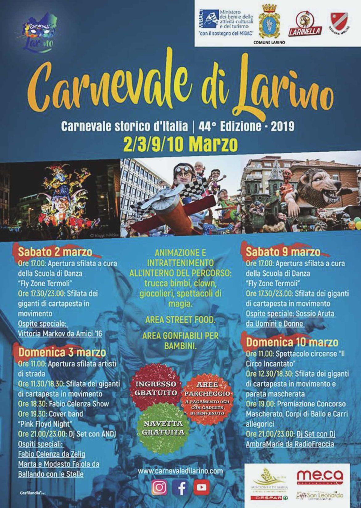 Il programma dettagliato del Carnevale di Larino 2019