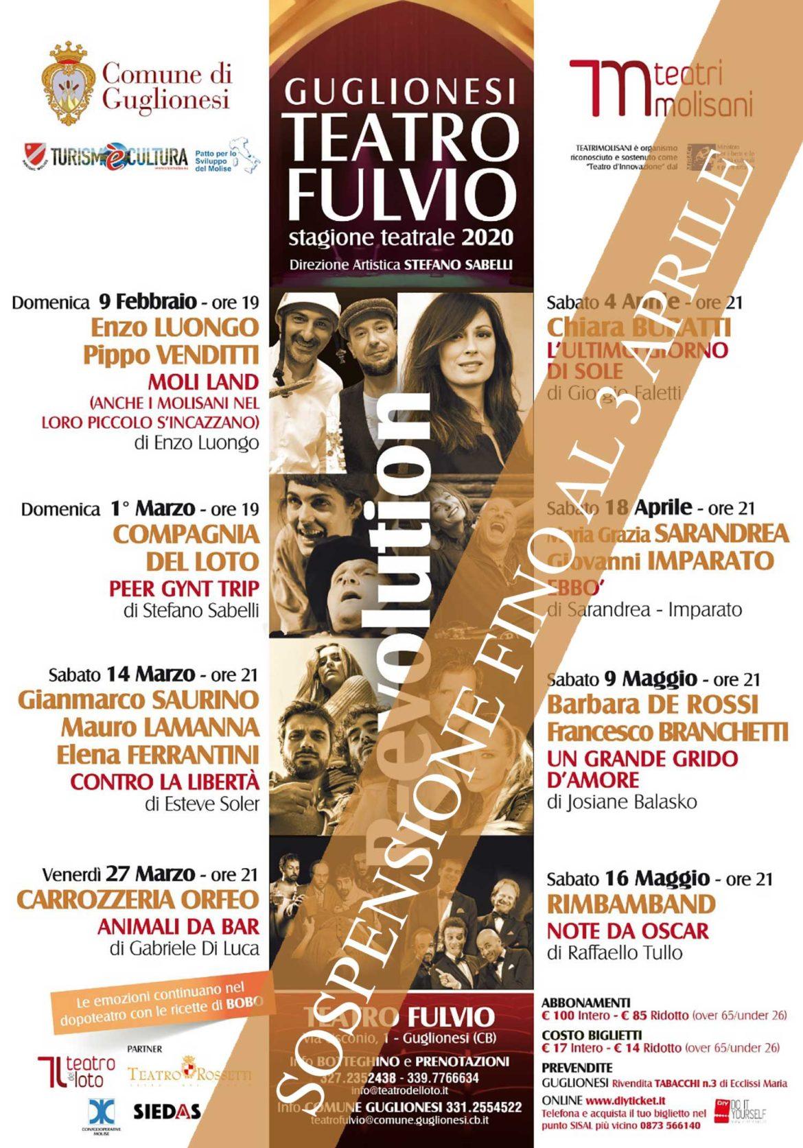 La stagione teatrale 2020 del Teatro Fulvio di Guglionesi: programma completo