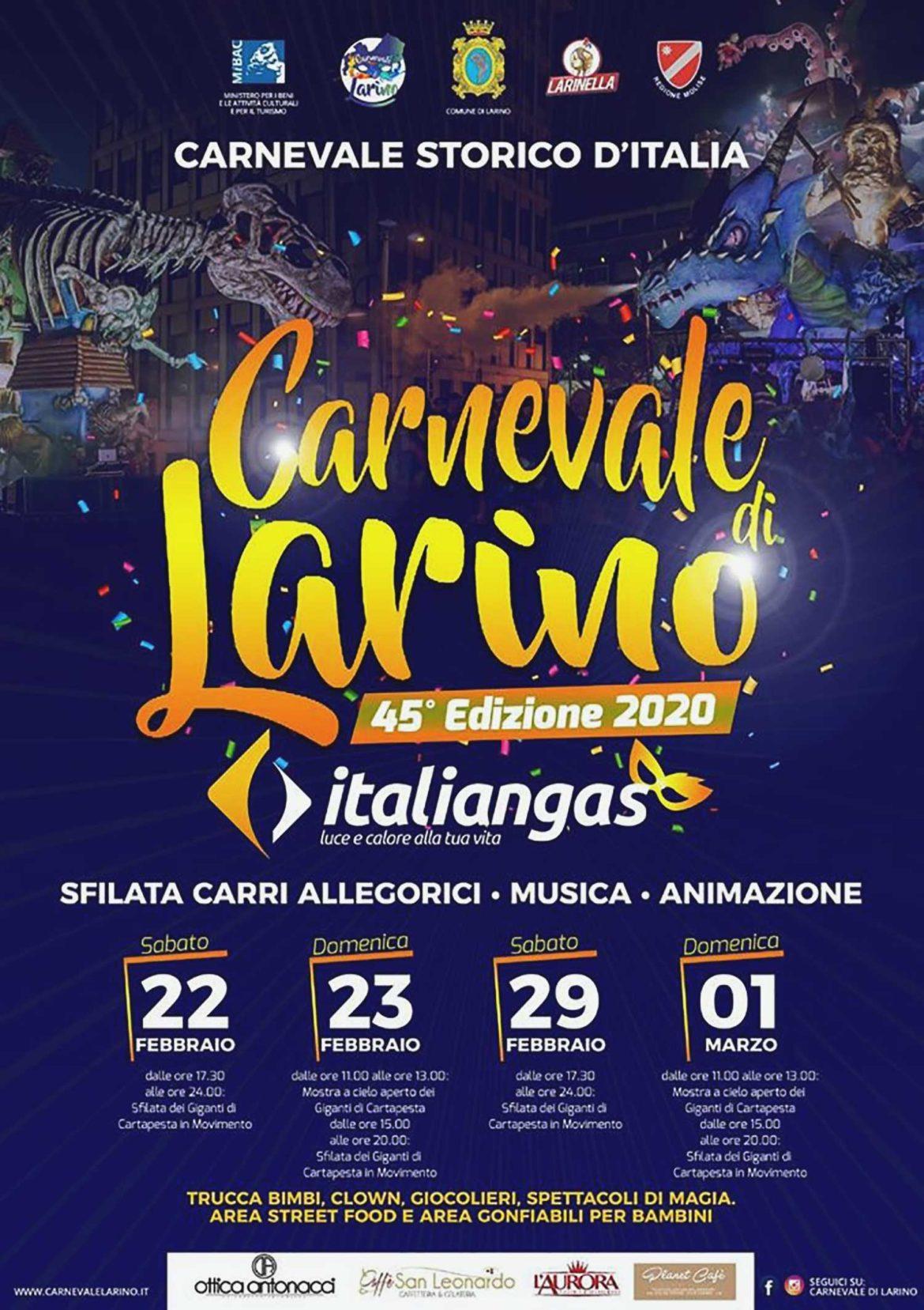 """Molise: il Carnevale di Larino 2020, con la sfilata di otto """"Giganti di cartapesta"""""""