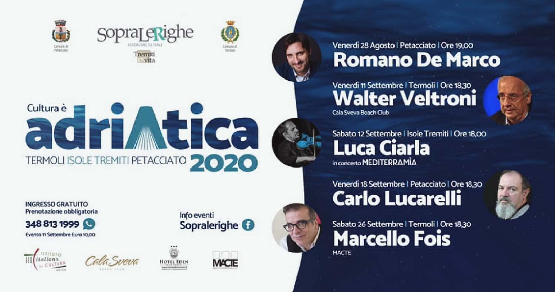 """Cinque appuntamenti con grandi autori tra Petacciato, Termoli e Isole Tremiti   Cultura è """"Adriatica"""" 2020"""